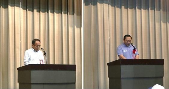 左:【壮行の言葉】倉敷市文化産業局長  三宅 様,右:【祝辞】倉敷市議会議長  斎藤  武次郎 様